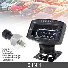 12/24V 6 In 1 araba dijital LCD göstergesi yağ basınç göstergesi + Volt metre + su sıcaklık göstergesi + yakıt göstergesi + takometre + Turbo Boost