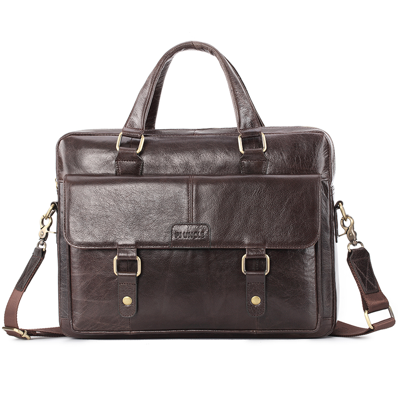 PIUNLE Briefcase Bag High Quality Business Leather Shoulder Messenger Bags Office Handbag Laptop Bag