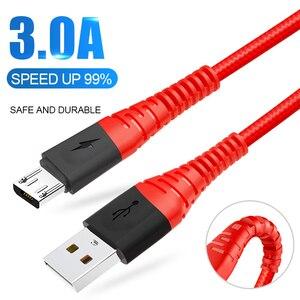 Микро USB кабель 3A для передачи данных и быстрой зарядки в плоской спиралевидной форме кабель шнур для Samsung Xiaomi Redmi Note 5 Android Microusb Быстрая зарядка 3 м 2 м кабель