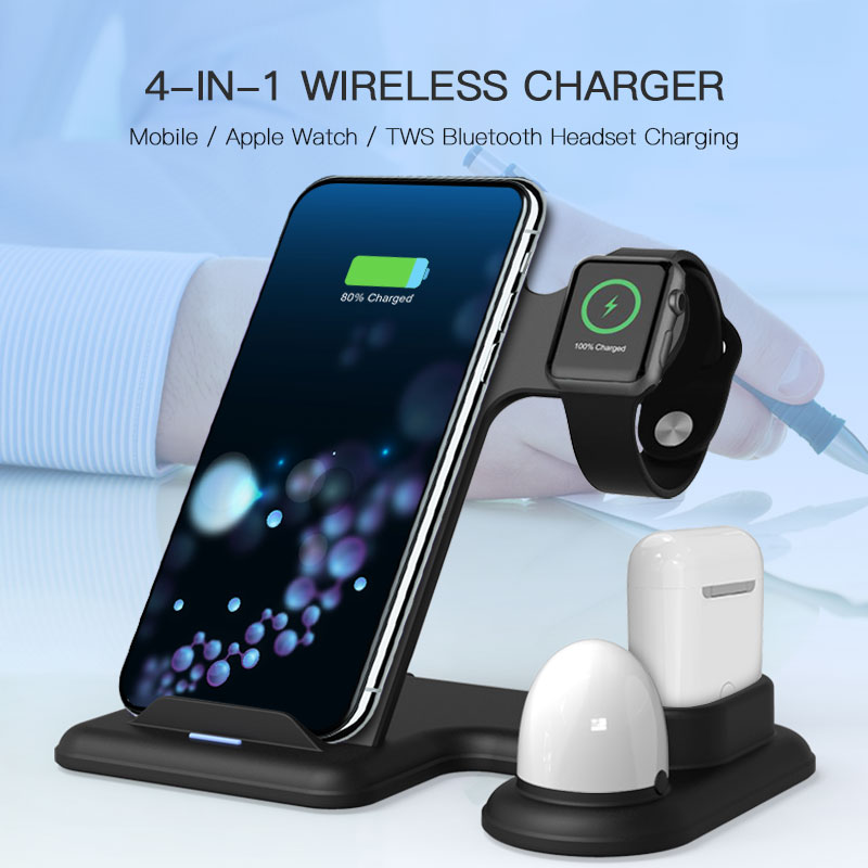 IMIDO Wireless Charger,4 In 1 Wireless Charger Airpods Watch Fast Charging Mobile Holder For Apple Watch 3 2 1 For Iphone XS 8