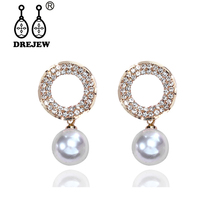 DREJEW Blue Star Gold Circle Pearl Crystal Statement Earrings Sets Fashion 925 Drop for Women Wedding Jewelry HE326
