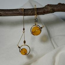 Oryginalne asymetryczne kolczyki Dangle dla kobiet 2020 spersonalizowane ręcznie szklane kulki koreański długie kolczyki wiszące biżuteria kolczyki Femme tanie tanio cosstore Miedzi Śliczne Romantyczny 0055 ROUND Szkło Kobiety