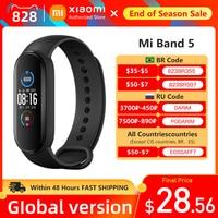 Xiaomi Mi Band 5 Smart Armband 4 Farbe AMOLED Bildschirm Herz Rate Überwachung Fitness Tracker Bluetooth Sport Wasserdichte Band5