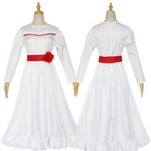 ConjingDoll Annabelle cadılar bayramı korku beyaz elbise Cosplay kostüm Anime oyunu uzun kollu O boyun kadın yapmak elbiseler