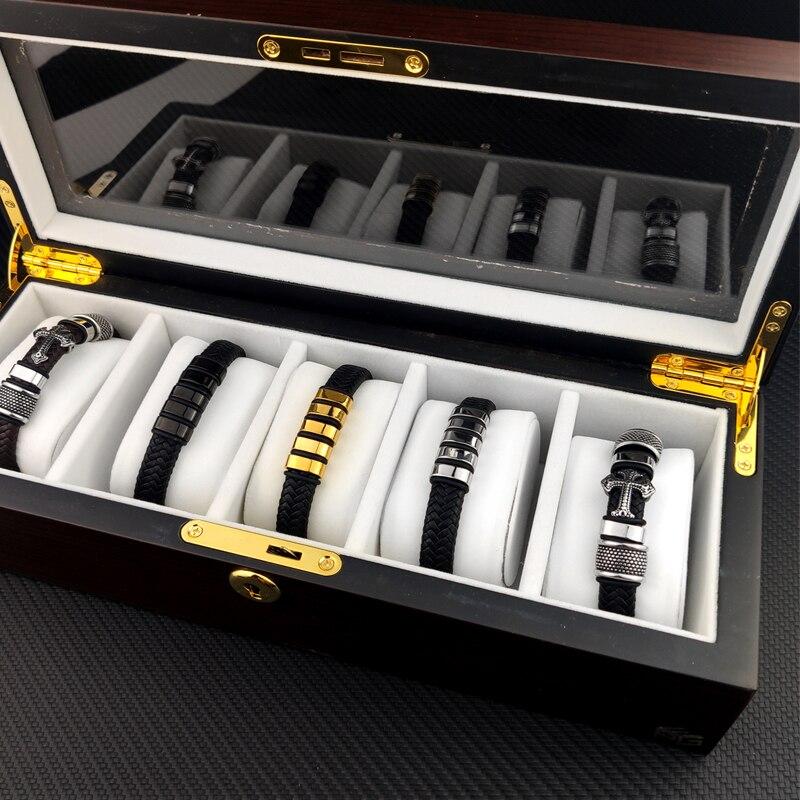 MingAo-Bracelet en cuir personnalisé pour hommes et femmes, perle en acier inoxydable Bracelet à breloques, cadeau d'anniversaire de Couple 5