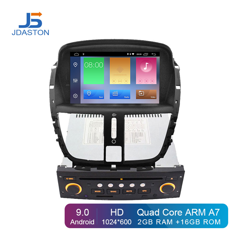 JDASTON Android 9.0 Car DVD Player For Peugeot 207 2007-2014 1 Din Car Radio GPS Navigation WiFi DAB+ Canbus Video Bluetooth image