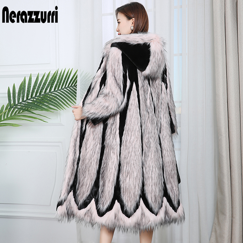 Nerazzurri Runway 2020 Patchwork Faux Fur Coat With Hood Pink Long Winter Women Fashion Coats Plus Size Color Block Outwear 7xl