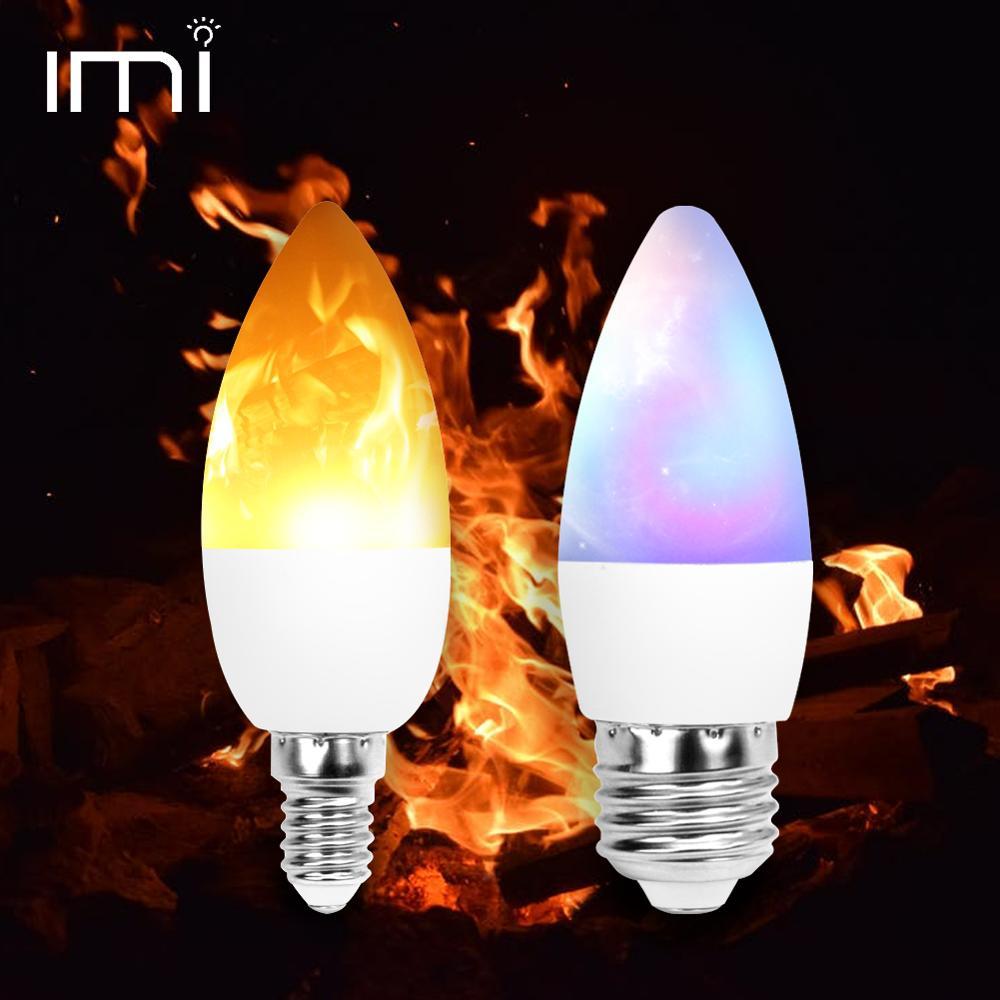 LED Flame Candle Light Bulb E12 E14 E27 E26 3W Fire Effect RGB AC 110V 220V 240V Flickering Emulation Party Home Decor Lamp