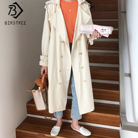 2019 Autumn New Women's Korean Style Chic Trench Solid Coat Turn down Collar Full Sleeve Double Breasted Office Lady C98807K