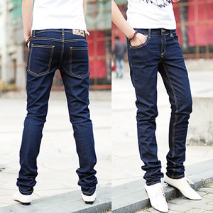 Spring And Autumn Lin Curved New Style Gray Cowboy Skinny Pants Snowflake With Numbers Black And Gray Pencil Pants MEN'S Trouser