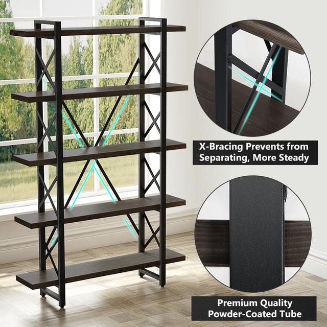 5-tier Industrial Style X Shaped Bookcase 4