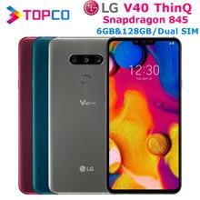 LG V40 ThinQ V405EBW oryginalny odblokowany LTE NFC telefon z systemem android Dual SIM Snapdragon 845 octa core 6.4