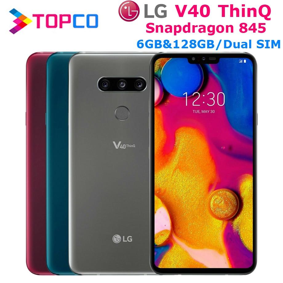 "LG V40 ThinQ V405EBW oryginalny odblokowany LTE NFC telefon z systemem android Dual SIM Snapdragon 845 octa core 6.4 ""16MP 6GB i 128GB linii papilarnych"