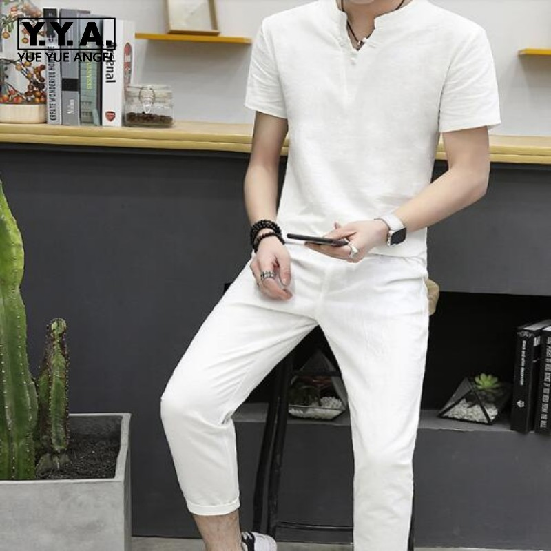 Summer Comfortable V Neck Solid Cotton Linen Retro Short Sleeve Loose Fit Fashion Clothes Sets Slim Fit Trouser For Men Sets