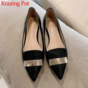 Krazing Pot genuine leather mature women daily wear fashion metal decorations pointed toe low heels soft breathable pumps L26