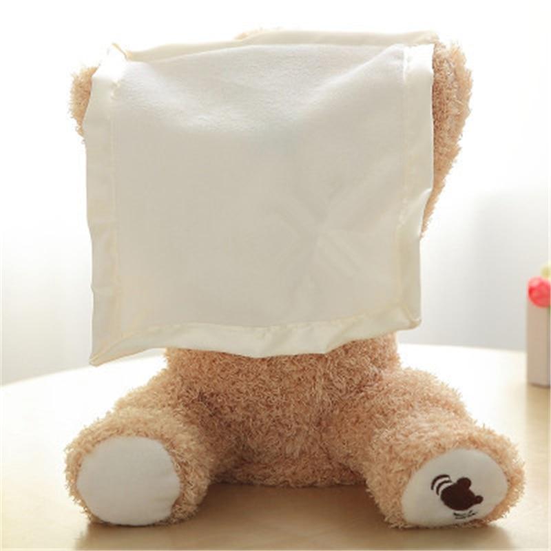 30CM Peek A Boo Teddy Bear Play Hide Seek Lovely Cartoon Stuffed Toys For Kids Electric Music Bear Plush Toy For Children Gift