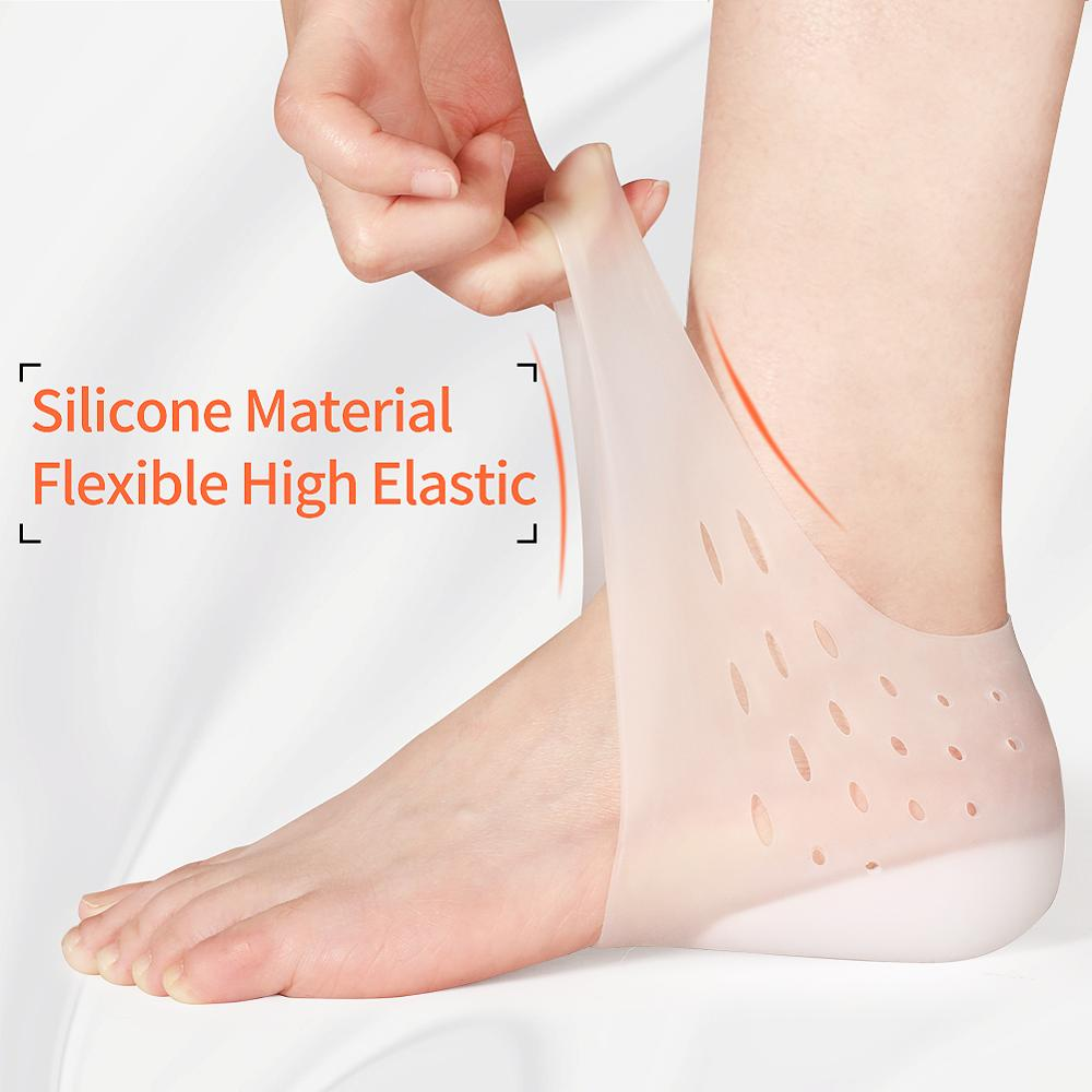 3ANGNI Invisible Height Increase Socks Women Men Heel Pads Silicone Gel Lift Insoles Dress In Socks Cracked Foot Skin Care Tool