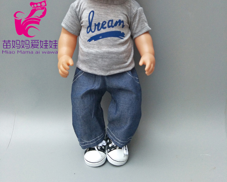 18 Inch 43cm Baby Boy Doll Clothes Grey Shirt And Jeans Pants Set For 18