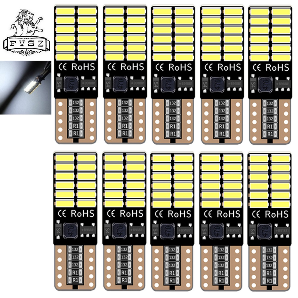 10pcs T10 Led Auto Lamp Car From CANBUS W5w 4014  24smd 8W 6000K Light Emitting Diodes Independent Bulb Excellent Producto White
