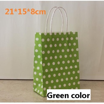 40PCS/Lot Green color Polka Dot kraft paper gift bag with handles Festival gift bags multifunction shopping jewelry bags