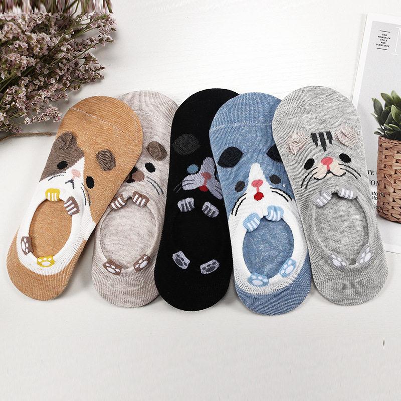 28 Style 10 pièce = 5 paires/lot mignon Harajuku Animal chaussettes femmes été coréen chat ours lapin drôle bas coupe cheville chaussette Happy Sox