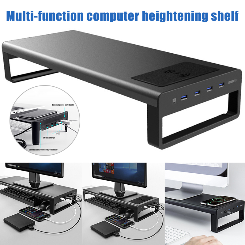Newly Smart Base Aluminum Alloy Computer Laptop Base Stand with USB 3 0 Port Charger Stand for PC Desktop Laptop send right away