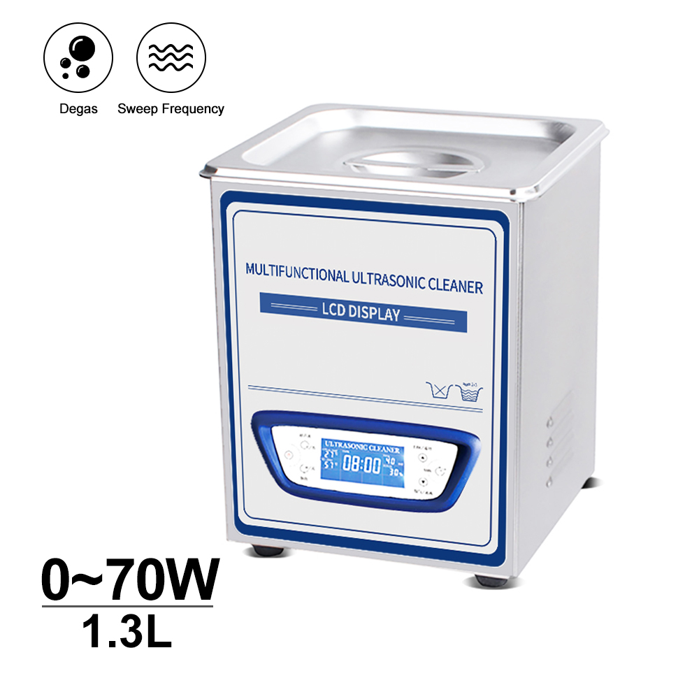Portable Ultrasonic Cleaner 1.3L Bath Mute Sweep Frequency Degassing Circuit Board Glasses Rings Chain Optical Part degas Washer