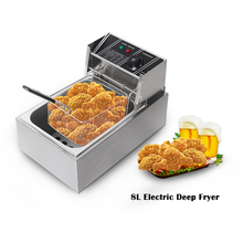 8L Frying Machine Food Fries Thermostat Control Deep-Fry Basket Stainless Steel Commercial Electric Oil Cylinder Chips Kitchen commercial kitchen 2 fry baskets stainless steel gas deepfryer industrial gas deep fryers