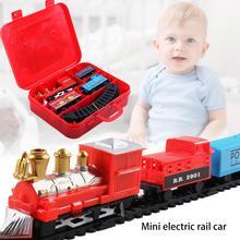 Рождественский электрический вагон поезд Игрушка Детская электрическая игрушка набор железнодорожных поездов гоночный Дорожный транспорт строительные развивающие