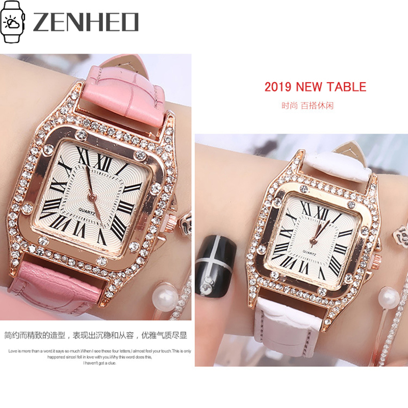 Women Watch Simple Delicate Watch Cortex Pin Buckle Luxury Fashion Wild Ladies Watch Square Diamond Roman Numerals Dial
