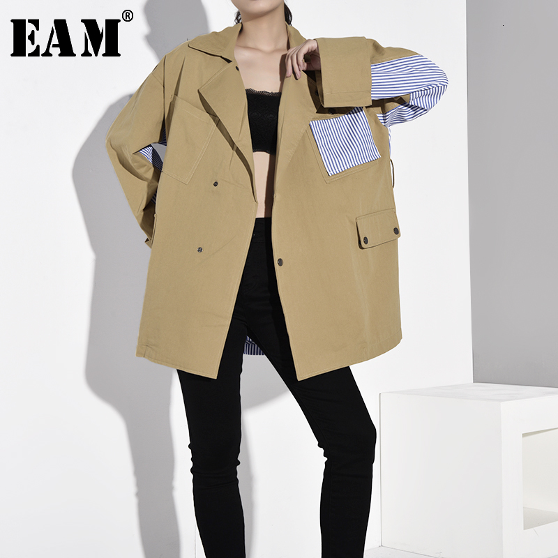 [EAM] Loose Fit Khaki Striped Stitch Big Size Jacket New Lapel Long Sleeve Women Coat Fashion Tide Spring Autumn 2020 WJ08504 1