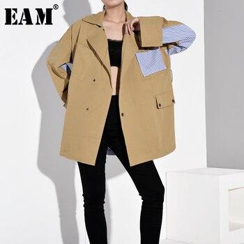 [EAM] Loose Fit Khaki Striped Stitch Big Size Jacket New Lapel Long Sleeve Women Coat Fashion Tide Spring Autumn 2020 WJ08504