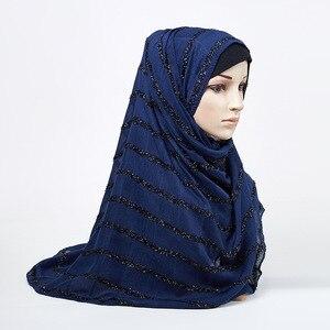 Image 3 - 2020女性のファッションソリッドカラー黒赤緑黄無地シマーグリッターイスラム教徒ヒジャーブスカーフヘッドラップターバンスカーフショール