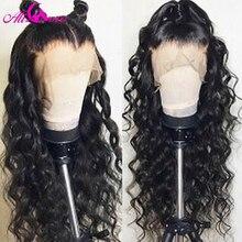 Brezilyalı derin kıvırcık insan saçı peruk 13x6 dantel ön İnsan saçı peruk 150% yoğunluk siyah kadınlar için ön koparıp Remy saç dantel peruk