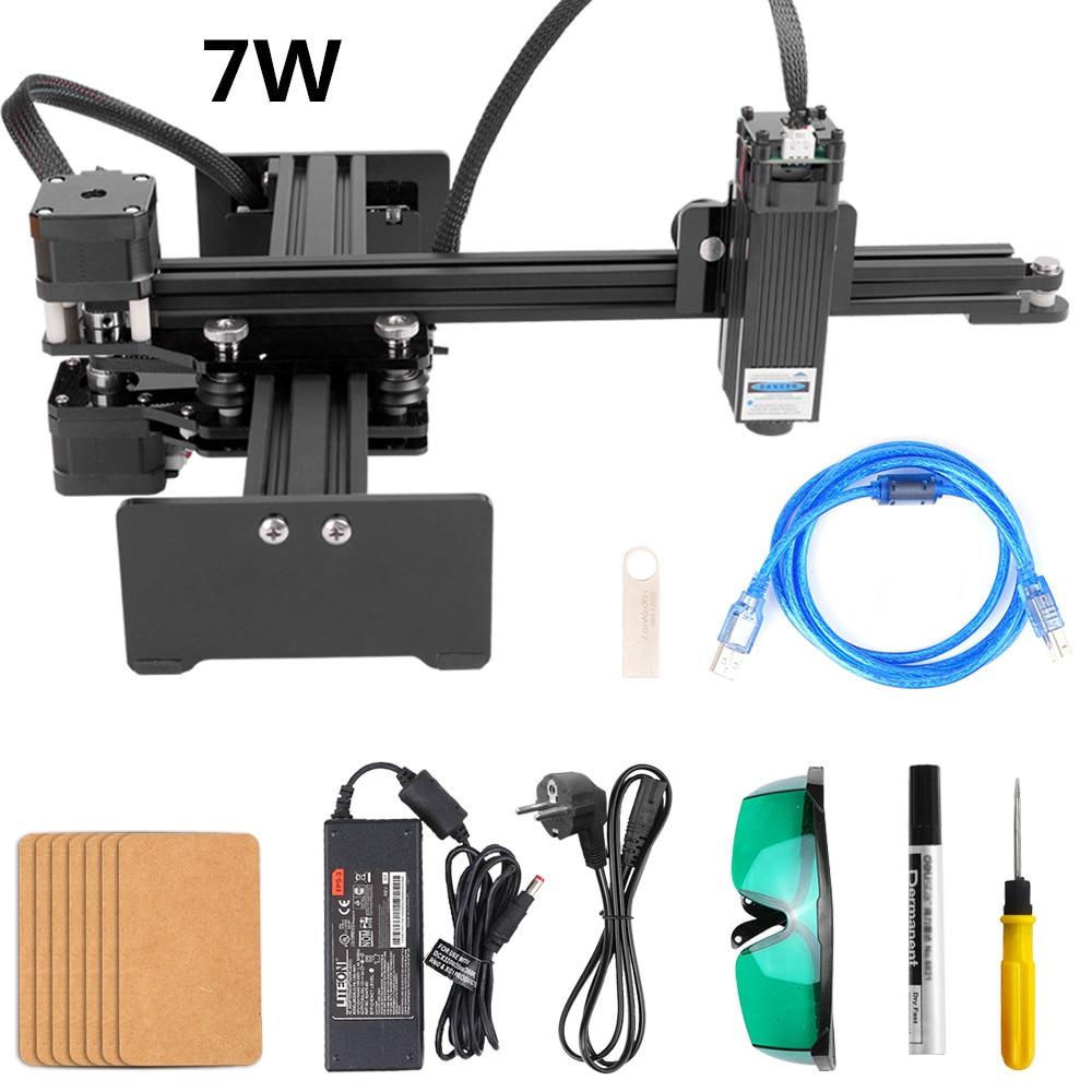 7W Laser Engraving Machine DIY Mini CNC Cutting Wood Router Desktop Single Arm Engraver For Banboo Paper Metal Wood Engraving