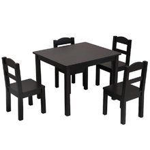 Puseky Dining table set with 4 pcs Chairs Wood High Leg Padded Seat Kitchen Kids Wood Table & 4 Chairs Set(China)