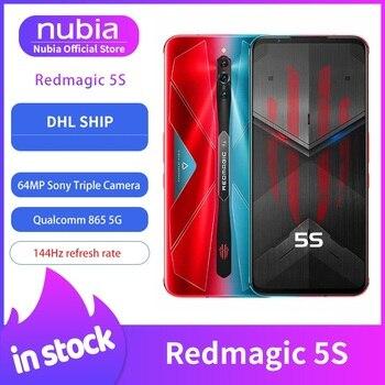 Перейти на Алиэкспресс и купить Новый запас оригинальный Nubia Red Magic 5S игровой мобильный телефон 6,65 дюймов 144 Гц AMOLED 16 Гб 256 ГБ Snapdragon 865 RedMagic 5S Wi-Fi 6