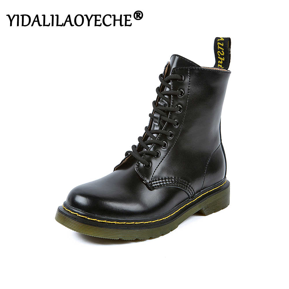 Solid Sepatu Bot Hitam Zipper Wanita Sepatu Kulit Asli Cross-Tied Sepatu Tempur untuk Wanita Wedges Punk Sepatu Boots