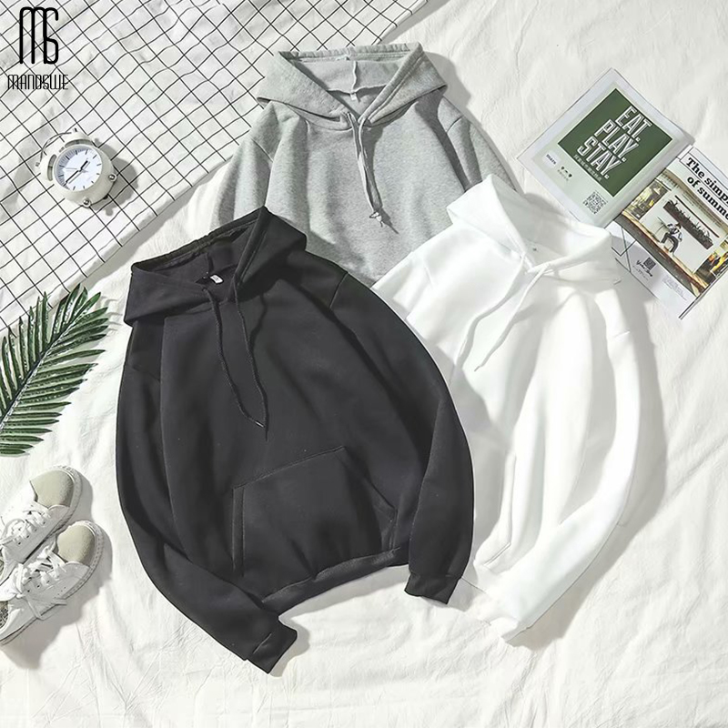 Manoswe New Men & Women Hoodies Off White Couple Coat 2019 Autumn Winter Solid Color Casual Loose 2XL Oversize Hoodie Sweatshirt