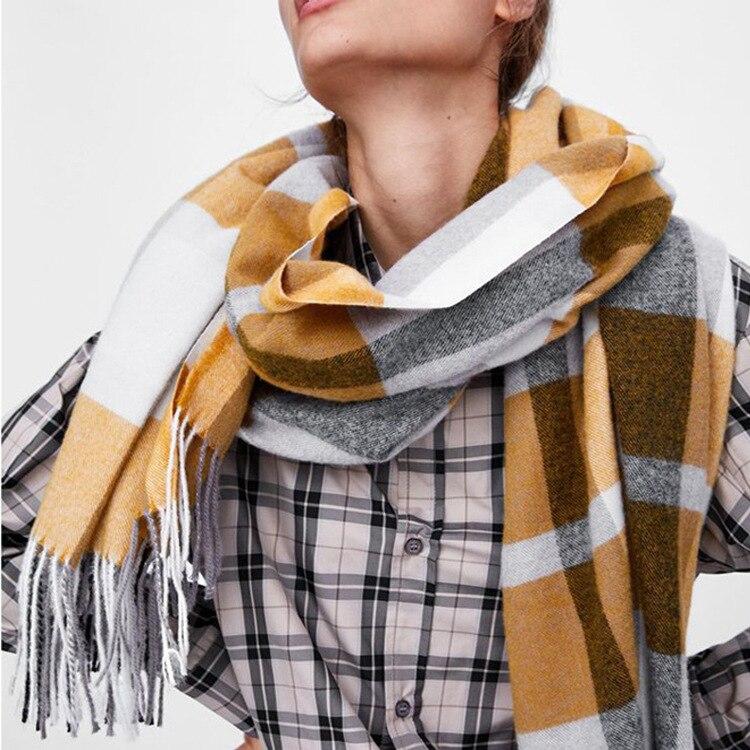 2019 New Style Scarf Women's Za Home Retro Europe And America Faux Cashmere Scarf Europe And America Tassels Thick Warm Shawl