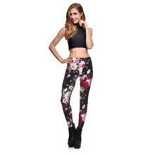 2017 WOMEN'S New Style Versatile Slim Fit Peony Digital Printed Quick-Drying Endothermic Casual Pants Lgs-3900(China)