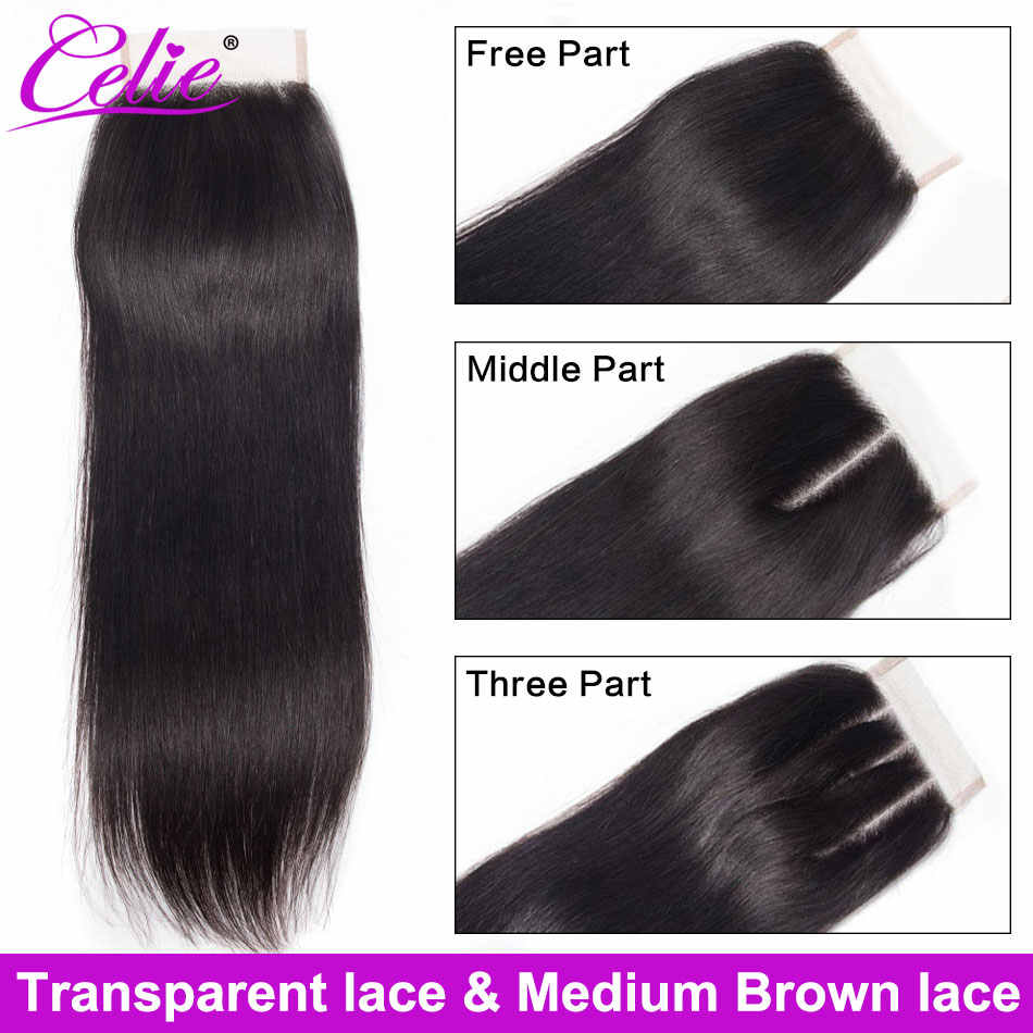 Celie Hair Closure Straight HD Closure HD Transparent Lace Closure Free/Middle/Three Part Swiss Lace Human Hair HD Closure