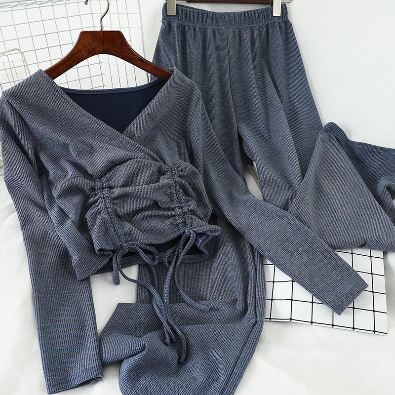 2020 Spring Fashion Knitted Two Piece Set Drawstring Short Long Sleeve V Neck Top Tretch Waist Wide Leg Pants Outfits