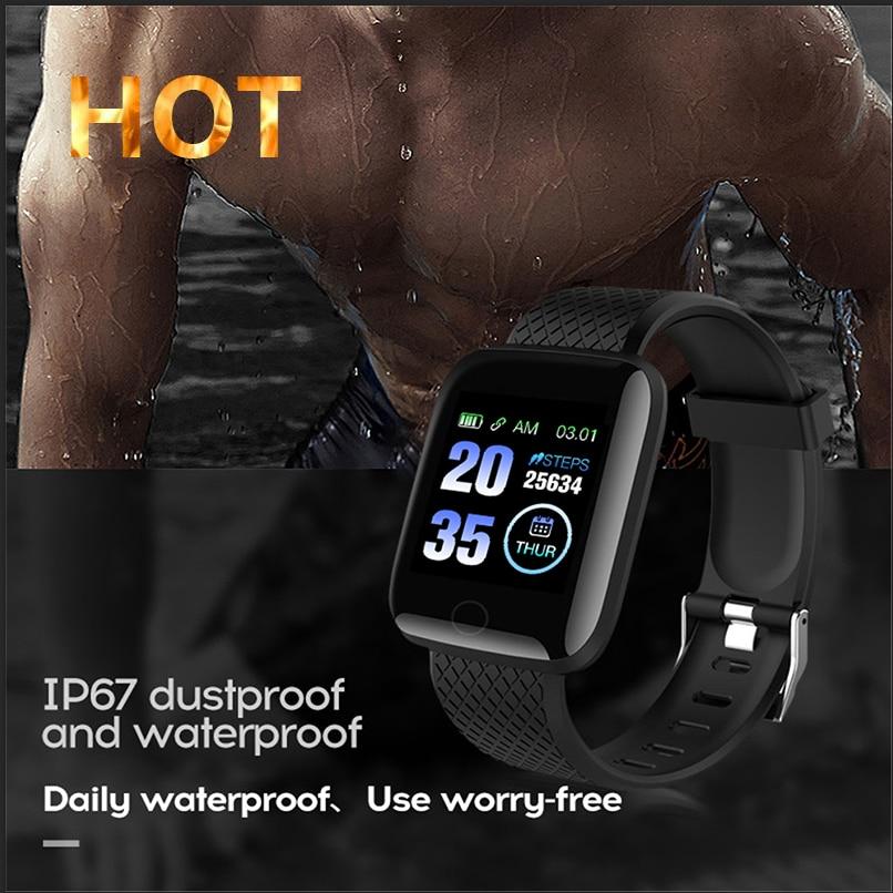 116Plu2020 NEW D13 Smart Watch Blood Pressure Heart Rate Monitor Mnformation Reminds Sports Waterproof Pedometer Men Smart Watch