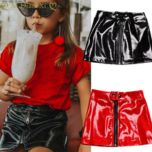 2019 New Baby Girls Skirts PU Leather Children's Autumn Clothing for Kids Button