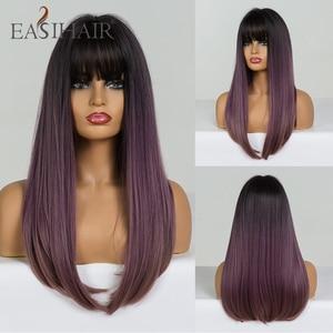 Image 5 - EASIHAIR uzun düz siyah sentetik peruk patlama ile doğal peruk kadınlar için yüksek sıcaklık Fiber Cosplay peruk isıya dayanıklı