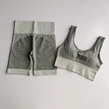 Женский бесшовный комплект для йоги из 2 предметов спортивный
