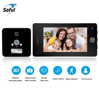 Saful Newest 4.3'' LCD Screen Moniter Peephole Camera Door Viewer 4 Ringtones Door Camera Digital Video Doorbell for smart home saful 4 3 digital video door viewer with multi languages recordable peephole home sercurity with one wireless doorbell hot sale