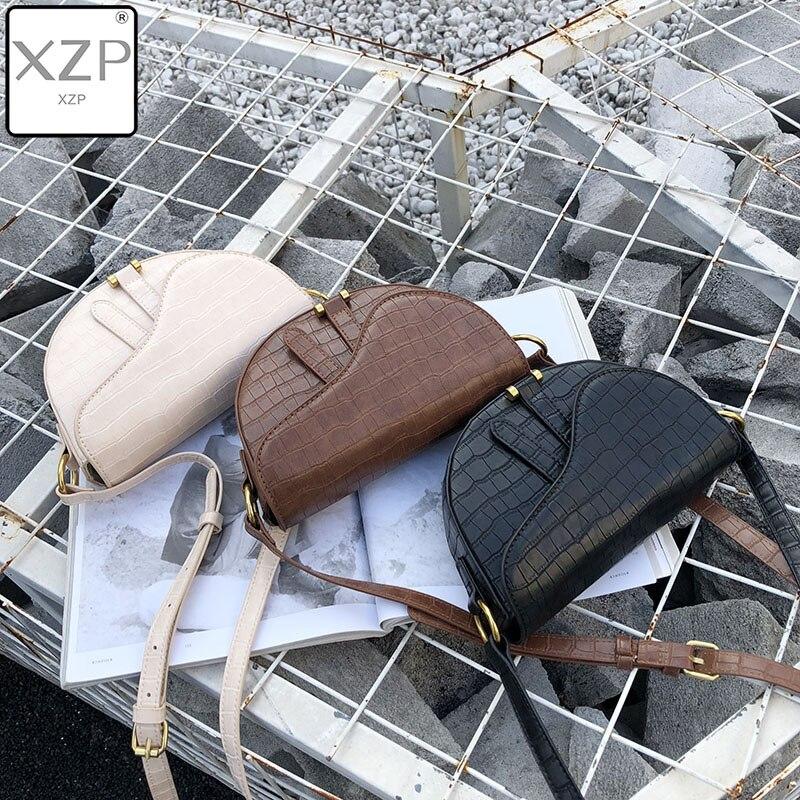 XZP Women Crossbody Bag Fashion Alligator Semicircle Saddle Bags Crocodile Shoulder Bags For Female Handbags Designer Bolsas
