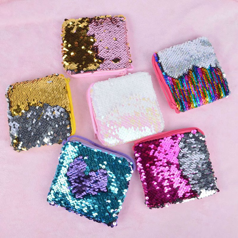 Lanyard-Bag Coin-Purse Sequins Square Crossbody Small Children's New Hot 1-Pc Dropship